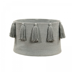 Kosz Basket Tassels Light Grey Lorena Canals, jasny szary