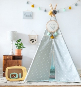 Namiot Tipi LOVELY DOTS MINT&GREY Lamps & Co, szary, miętowy